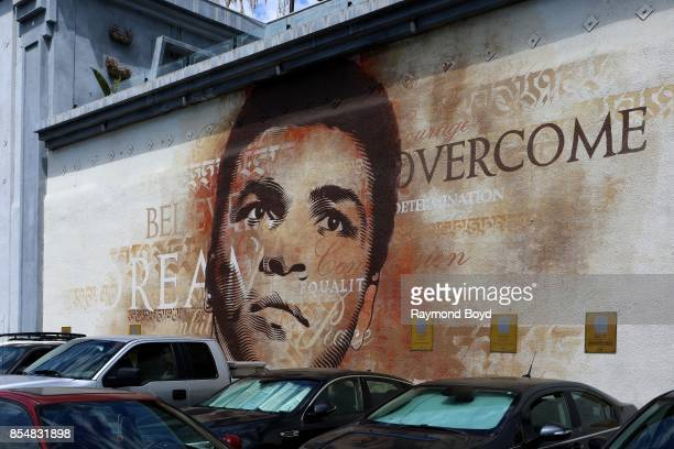 Cryptik's Muhammad Ali mural on the side of Hooters restaurant in Los Angeles California on September 11 2017 MANDATORY MENTION OF THE ARTIST UPON...