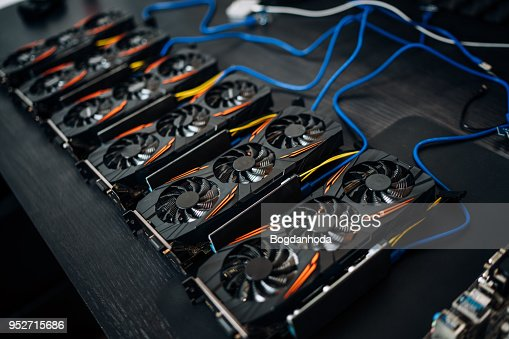 Crypto currency mining components with graphics cards and gpu. Internet connected power rig mining ethereum, bitcoin and altcoins : Stock Photo