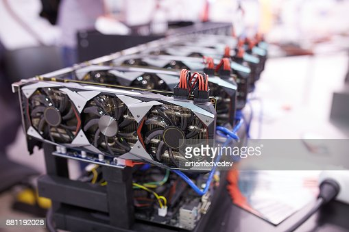 Cryptocurrency mining equipment - lots of gpu cards on mainboard : Stock Photo