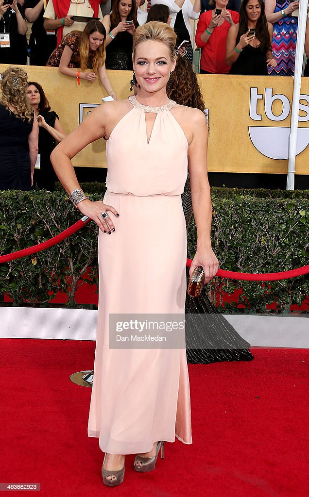 Crystal Allen arrives at the 20th Annual Screen Actors Guild Awards at the Shrine Auditorium on January 18, 2014 in Los Angeles, California.