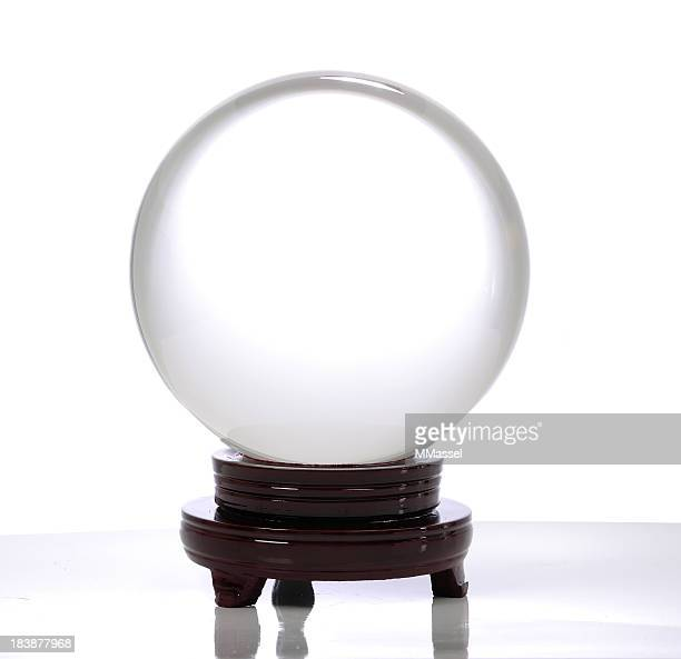 Crystal ball on a brown stand with a white background