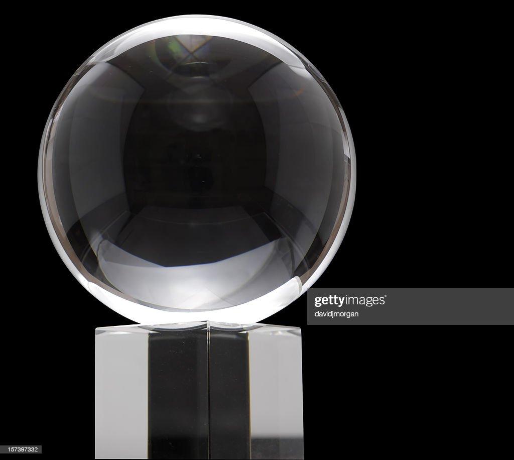 Crystal ball on black background