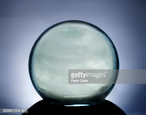 Crystal ball on stand, close-up : Stock Photo