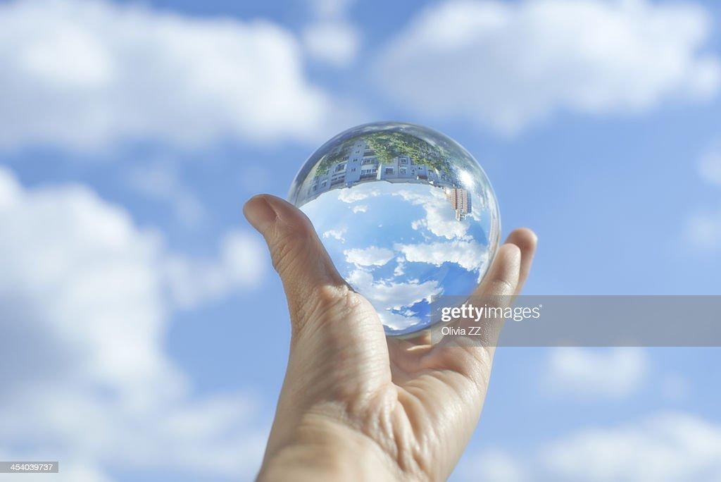 Crystal ball under the clear sky