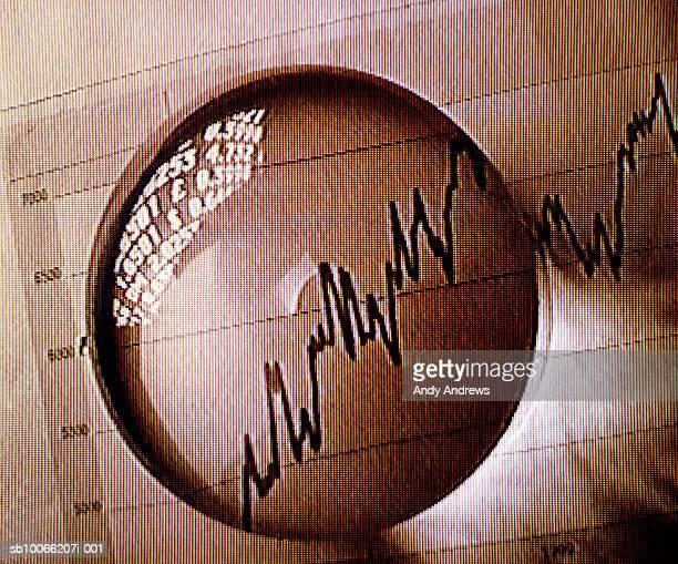 Crystal ball with shares chart, close-up