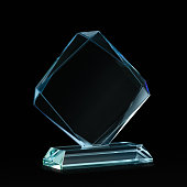 Crystal blank for award isolated on a black background with a clipping path