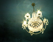 Crystal Chandelier on blue ceiling