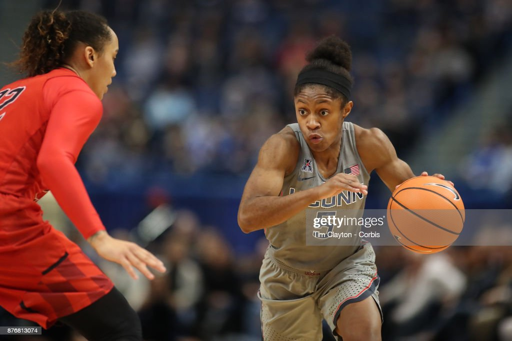Crystal Dangerfield #5 of the Connecticut Huskies drives to the basket defended by Blair Watson #22 of the Maryland Terrapins during the the UConn Huskies Vs Maryland Terrapins, NCAA Women's Basketball game at the XL Center, Hartford, Connecticut. November 19th, 2017