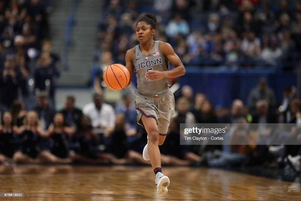 Crystal Dangerfield #5 of the Connecticut Huskies in action during the the UConn Huskies Vs Maryland Terrapins, NCAA Women's Basketball game at the XL Center, Hartford, Connecticut. November 19th, 2017