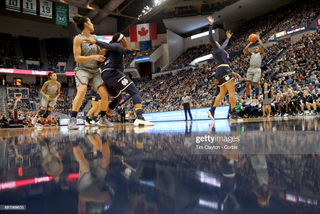 Crystal Dangerfield #5 of the Connecticut Huskies shoots for three during the the UConn Huskies Vs Notre Dame, NCAA Women's Basketball game at the XL Center, Hartford, Connecticut. December 3, 2017