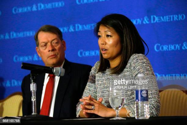 Crystal Dao Pepper daughter of Dr David Dao pauses as she speaks about her father as she sits with her attorney Stephen Golan during a news...