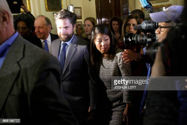 Crystal Dao Pepper leaves a news conference for her father Dr David Dao on April 13 2017 in Chicago Illinois Attorneys Stephen Golan and Thomas...