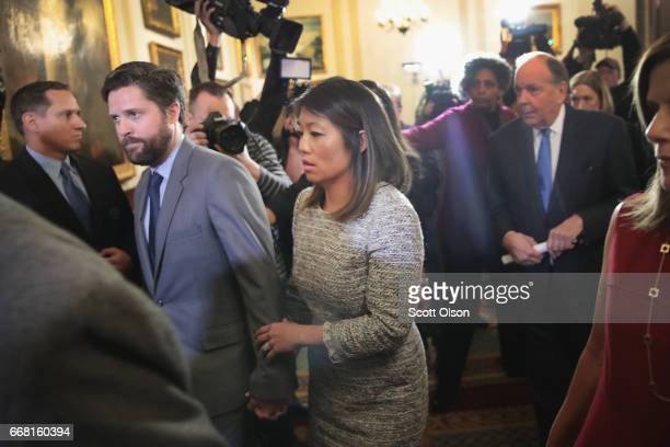 Crystal Dao Pepper the daughter of Dr David Dao leaves a press conference on April 13 2017 in Chicago Illinois On April 9 Dr Dao was forcibly removed...