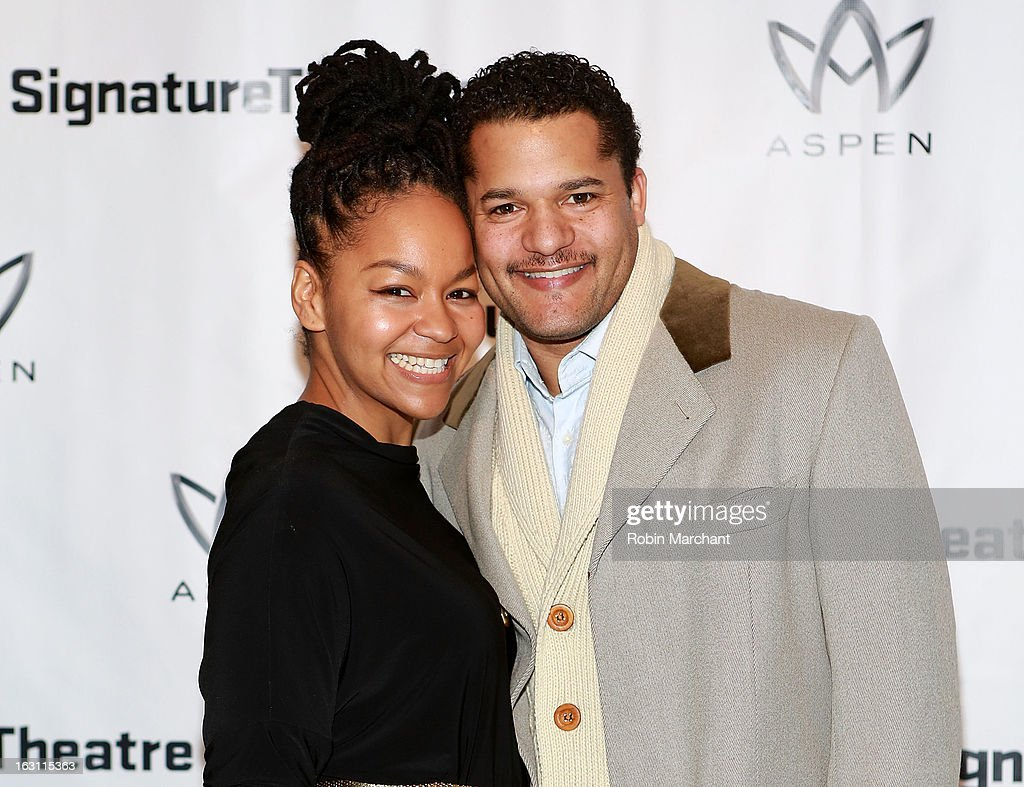 Crystal Dickinson (L) and Brandon Dirden attend the 'Old Hats' Opening Night at Signature Theatre Company's The Pershing Square Signature Center on March 4, 2013 in New York City.