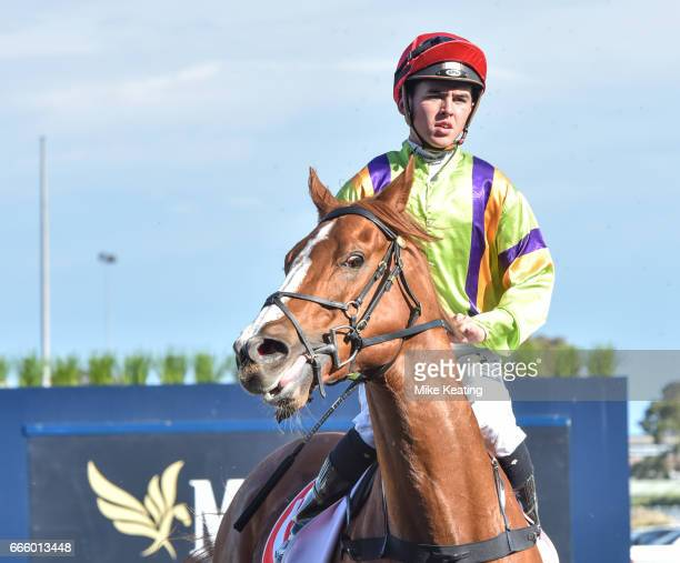 Crystal Dreamer ridden by Ben E Thompson returns to scale after winning the Sandown Park Handicap at Caulfield Racecourse on April 08 2017 in...