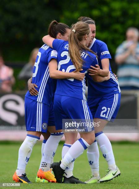 Crystal Dunn of Chelsea celebrates with her team mates after scoring to make it 50 during the FA WSL 1 match between Chelsea Ladies and Yeovil Town...
