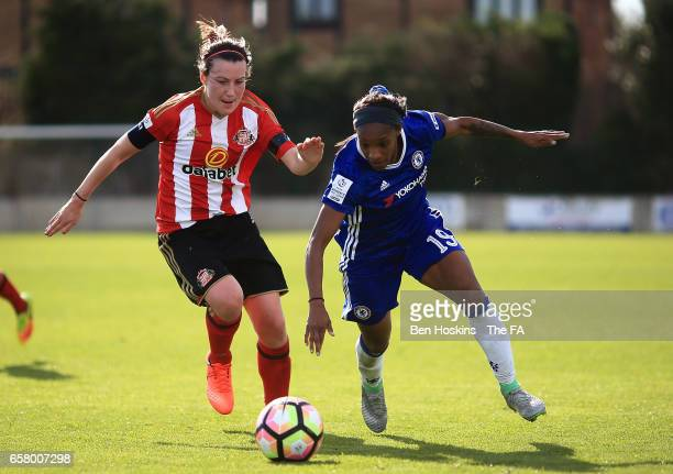 Crystal Dunn of Chelsea holds off pressure from Stephanie Bannon of Sunderland during the SSE FA Women's Cup Sixth Round match between Chelsea Ladies...