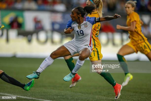 Crystal Dunn of the United States in action against Australia during the 2017 Tournament of Nations at CenturyLink Field on July 27 2017 in Seattle...