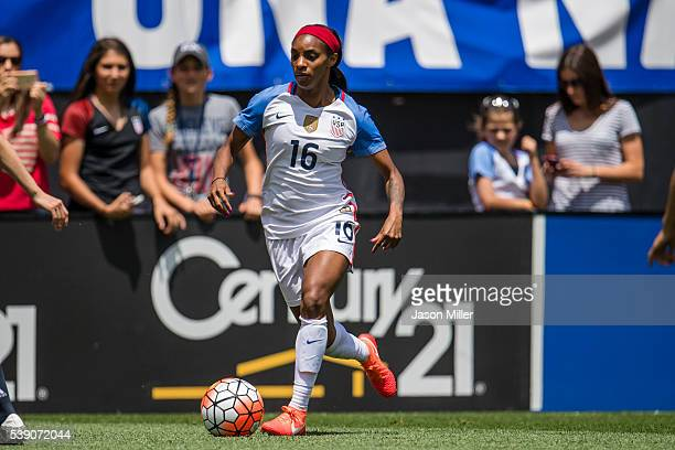 Crystal Dunn of the US Women's National Team controls the ball during the first half against Japan during a friendly match on June 5 2016 at...