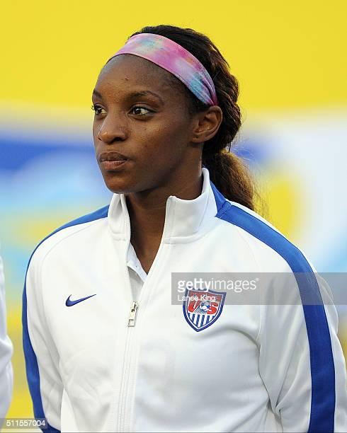 Crystal Dunn of the US women's national team looks on prior to their match against the Swiss women's national team at WakeMed Soccer Park on August...