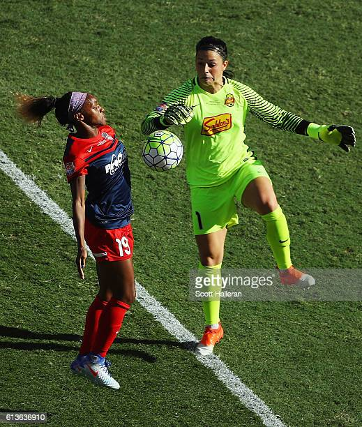 Crystal Dunn of the Washington Spirit battles for the ball with Sabrina D'Angelo of the Western New York Flash during the first half of the 2016 NWSL...