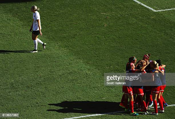 Crystal Dunn of the Washington Spirit celebrates with her teammates after her goal against the Western New York Flash during the first half of the...