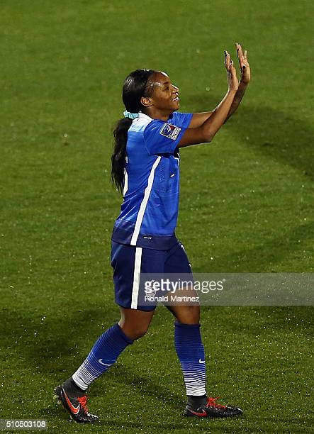 Crystal Dunn of USA celebrates her third goal against Puerto Rico during CONCACAF Women's Olympic Qualifying at Toyota Stadium on February 15 2016 in...