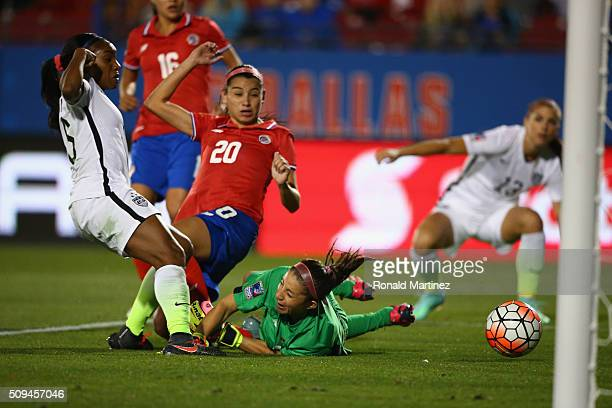 Crystal Dunn of USA scores a goal past Dinnia Diaz of Costa Rica during the 2016 CONCACAF Women's Olympic Qualifying at Toyota Stadium on February 10...