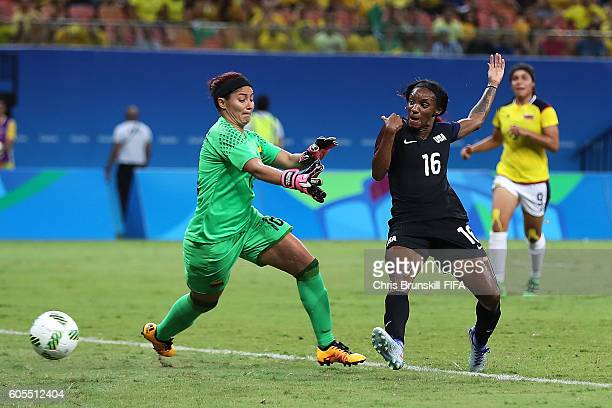 Crystal Dunn of USA scores a goal to make the score 11 during the Rio 2016 Olympic Women's Football match between Colombia and USA at Amazonia Arena...