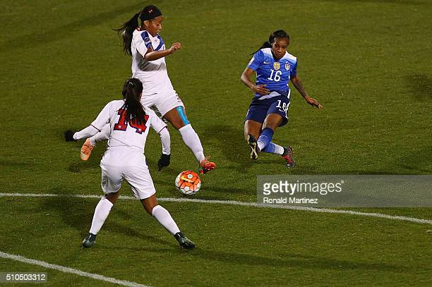 Crystal Dunn of USA scores her third goal against Puerto Rico during CONCACAF Women's Olympic Qualifying at Toyota Stadium on February 15 2016 in...