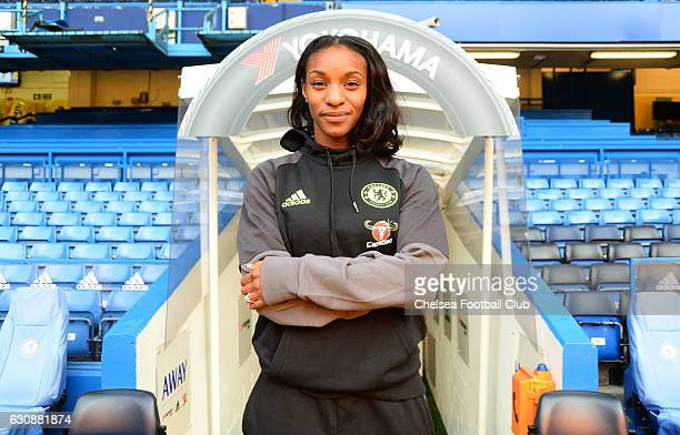 Crystal Dunn signs for Chelsea at Stamford Bridge on January 3 2017 in London England