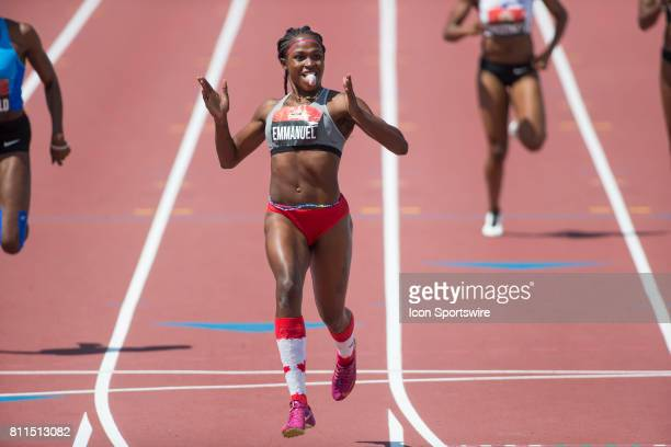 Crystal Emmanuel celebrates her victory in the 200m to go with her 100m gold medal at the Canadian Track and Field Championships on 9 July 2017 at...