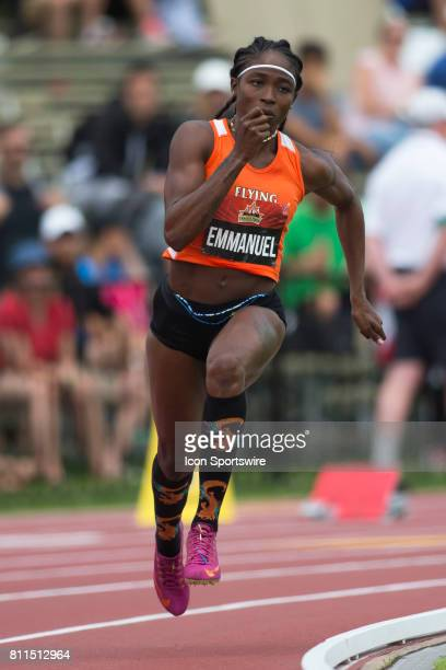 Crystal Emmanuel in the 200m semifinals at the Canadian Track and Field Championships on 8 July 2017 at the Terry Fox Athletic Facility in Ottawa...