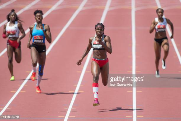 Crystal Emmanuel powers down the home stretch to a gold medal in the 200m to go with her 100m gold medal at the Canadian Track and Field...