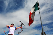 Crystal Gauvin of USA shoots during the compound women's individual competition as part of the Mexico City 2015 Archery World Cup Final at Zocalo...