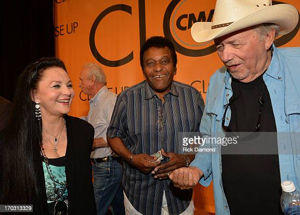 Crystal Gayle Charley Pride and Bobby Bare appear at CMA Close Up Stage 70's Heritage Panel at Music City Convention Center on June 6 2013 in...