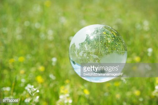 Crystal globe floating over grass and flowers