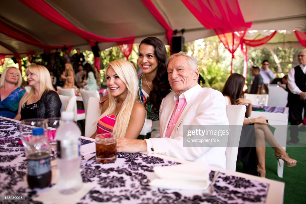 Crystal Harris, 2013 Playmate of the Year <a gi-track='captionPersonalityLinkClicked' href=/galleries/search?phrase=Raquel+Pomplun&family=editorial&specificpeople=10120930 ng-click='$event.stopPropagation()'>Raquel Pomplun</a> and <a gi-track='captionPersonalityLinkClicked' href=/galleries/search?phrase=Hugh+Hefner&family=editorial&specificpeople=202106 ng-click='$event.stopPropagation()'>Hugh Hefner</a> attend Playboy's 2013 Playmate of the Year luncheon honoring <a gi-track='captionPersonalityLinkClicked' href=/galleries/search?phrase=Raquel+Pomplun&family=editorial&specificpeople=10120930 ng-click='$event.stopPropagation()'>Raquel Pomplun</a> at The Playboy Mansion on May 9, 2013 in Holmby Hills, California.