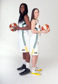 Crystal Langhorne and Sue Bird of the Seattle Storm poses for a photo during WNBA Media Day on May 7 2014 at Key Arena in Seattle Washington NOTE TO...