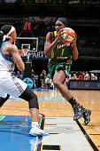 Crystal Langhorne of the Seattle Storm drives against the Minnesota Lynxon June 29 2014 at Target Center in Minneapolis Minnesota NOTE TO USER User...