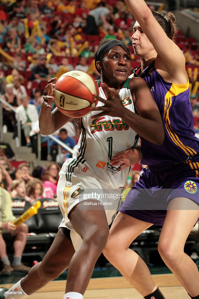 <a gi-track='captionPersonalityLinkClicked' href=/galleries/search?phrase=Crystal+Langhorne&family=editorial&specificpeople=700514 ng-click='$event.stopPropagation()'>Crystal Langhorne</a> #1 of the Seattle Storm drives to the basket against the Los Angeles Sparks on July 15, 2015 at KeyArena in Seattle, Washington.