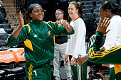 Crystal Langhorne of the Seattle Storm gets introduced before a game against the San Antonio Stars at ATT Center on June 13 2014 in San Antonio Texas...