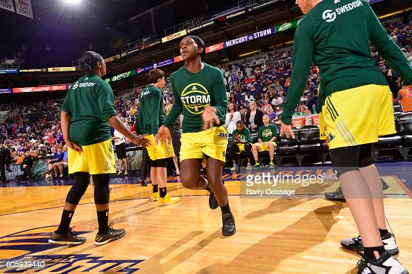 Crystal Langhorne of the Seattle Storm gets introduced before the game against the Phoenix Mercury on September 15 2016 at Talking Stick Resort Arena...