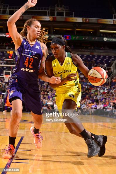 Crystal Langhorne of the Seattle Storm handles the ball against Brittney Griner of the Phoenix Mercury on September 15 2016 at Talking Stick Resort...