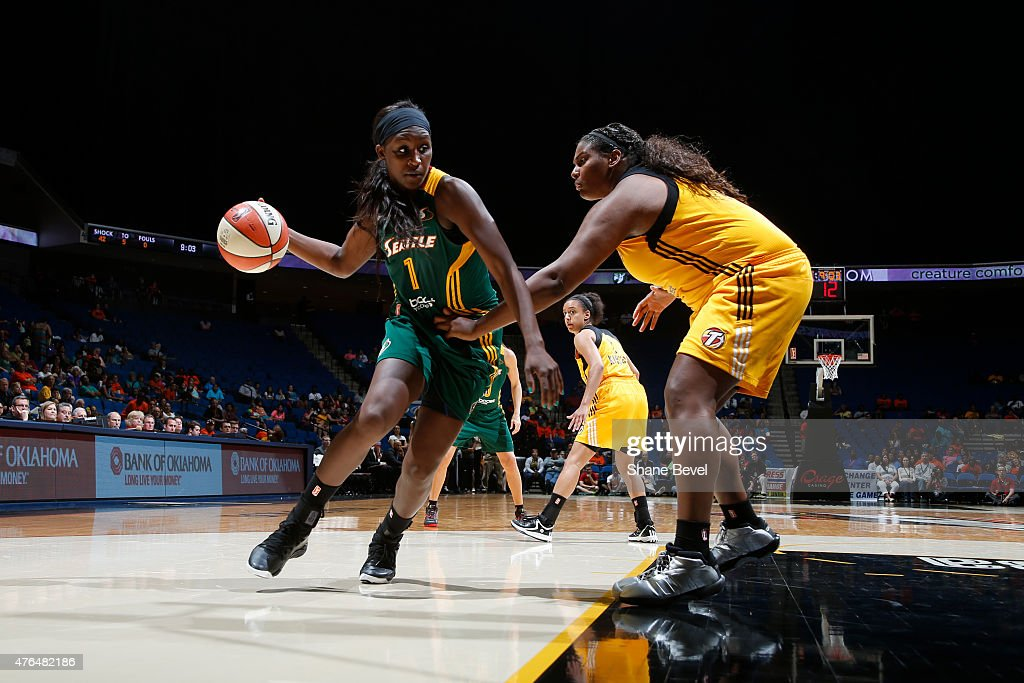 <a gi-track='captionPersonalityLinkClicked' href=/galleries/search?phrase=Crystal+Langhorne&family=editorial&specificpeople=700514 ng-click='$event.stopPropagation()'>Crystal Langhorne</a> #1 of the Seattle Storm handles the ball against the Tulsa Shock on June 9 2015 at the BOK Center in Tulsa, Oklahoma.