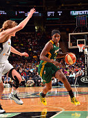 Crystal Langhorne of the Seattle Storm handles the ball against the New York Liberty on August 2 2015 at Madison Square Garden in New York City NY...