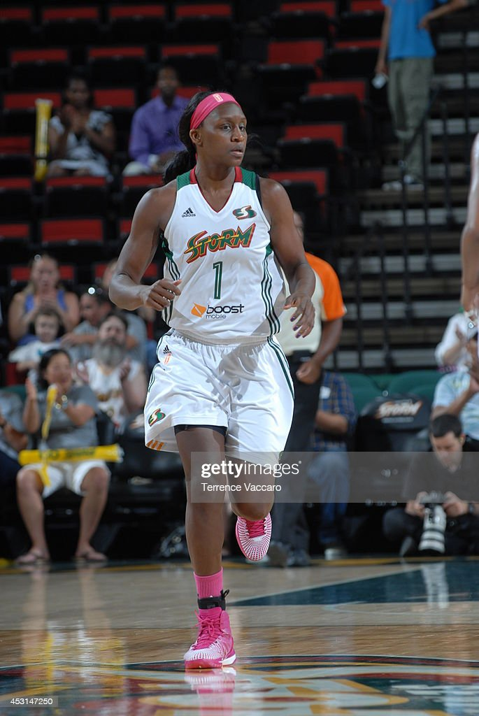 <a gi-track='captionPersonalityLinkClicked' href=/galleries/search?phrase=Crystal+Langhorne&family=editorial&specificpeople=700514 ng-click='$event.stopPropagation()'>Crystal Langhorne</a> #1 of the Seattle Storm runs the court against the San Antonio Silver Stars during the game on August 3, 2014 at Key Arena in Seattle, Washington.