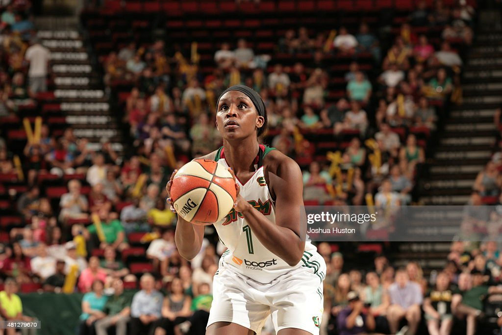 <a gi-track='captionPersonalityLinkClicked' href=/galleries/search?phrase=Crystal+Langhorne&family=editorial&specificpeople=700514 ng-click='$event.stopPropagation()'>Crystal Langhorne</a> #1 of the Seattle Storm shoots a free throw against the Atlanta Dream during the WNBA game on July 18, 2015 at Key Arena in Seattle, Washington.