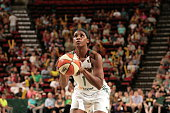 Crystal Langhorne of the Seattle Storm shoots a free throw against the Atlanta Dream during the WNBA game on July 18 2015 at Key Arena in Seattle...