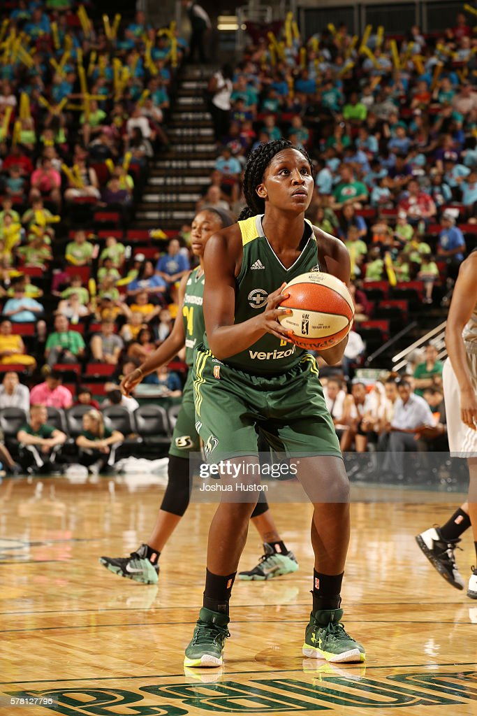 Crystal Langhorne of the Seattle Storm shoots a free throw against the San Antonio Stars on July 20 at Key Arena in Seattle Washington NOTE TO USER...